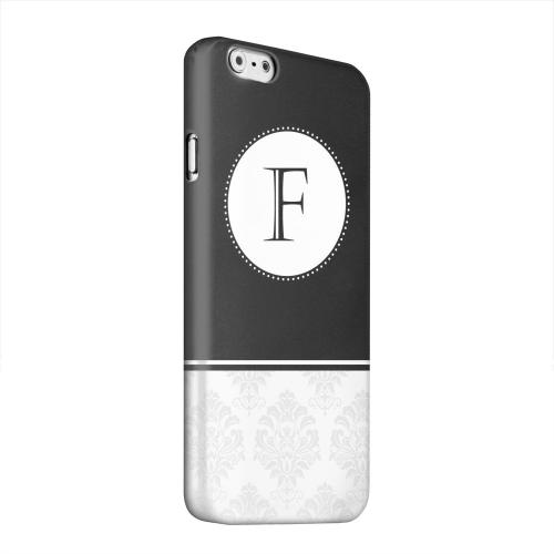 Geeks Designer Line (GDL) Apple iPhone 6 Matte Hard Back Cover - Black Monogram F w/ White Damask Design