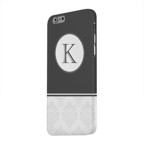 Geeks Designer Line (GDL) Apple iPhone 6 Matte Hard Back Cover - Black Monogram K w/ White Damask Design