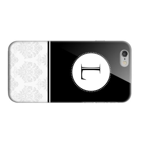 Geeks Designer Line (GDL) Apple iPhone 6 Matte Hard Back Cover - Black Monogram L w/ White Damask Design