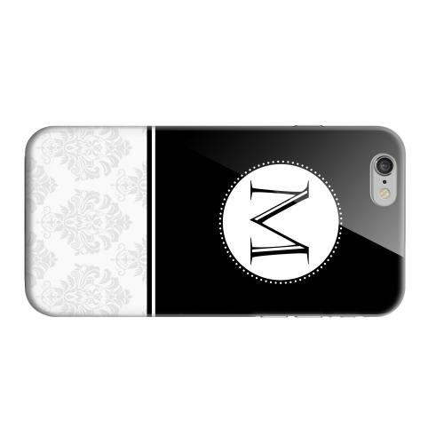 Geeks Designer Line (GDL) Apple iPhone 6 Matte Hard Back Cover - Black Monogram M w/ White Damask Design