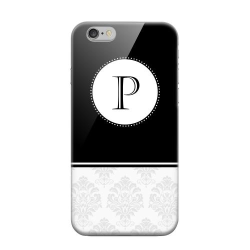 Geeks Designer Line (GDL) Apple iPhone 6 Matte Hard Back Cover - Black Monogram P w/ White Damask Design