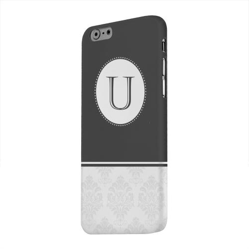 Geeks Designer Line (GDL) Apple iPhone 6 Matte Hard Back Cover - Black Monogram U w/ White Damask Design