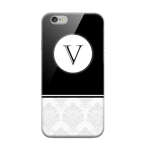 Geeks Designer Line (GDL) Apple iPhone 6 Matte Hard Back Cover - Black Monogram V w/ White Damask Design