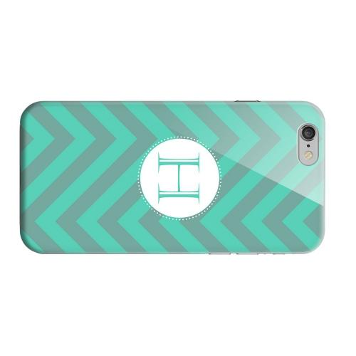 Geeks Designer Line (GDL) Apple iPhone 6 Matte Hard Back Cover - Seafoam Green Monogram H on Zig Zags