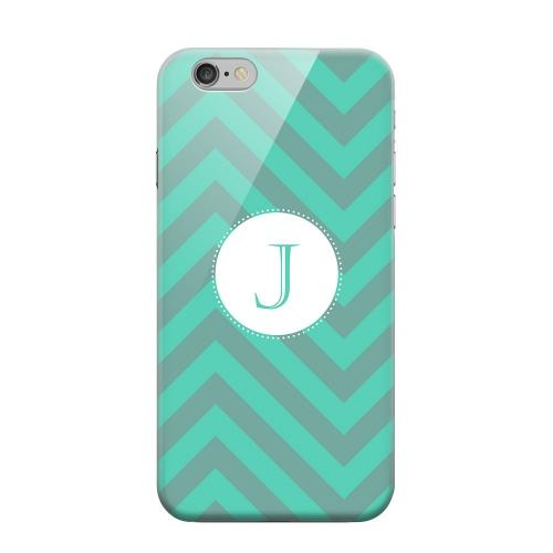 Geeks Designer Line (GDL) Apple iPhone 6 Matte Hard Back Cover - Seafoam Green Monogram J on Zig Zags