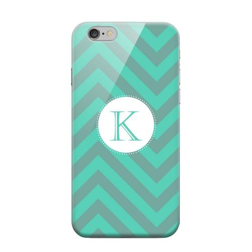 Geeks Designer Line (GDL) Apple iPhone 6 Matte Hard Back Cover - Seafoam Green Monogram K on Zig Zags