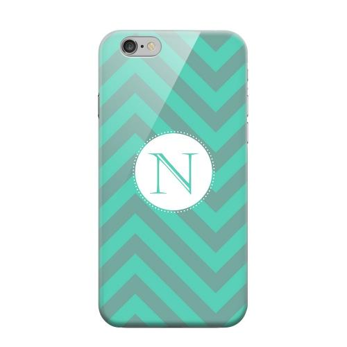 Geeks Designer Line (GDL) Apple iPhone 6 Matte Hard Back Cover - Seafoam Green Monogram N on Zig Zags
