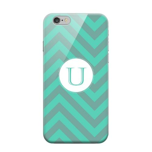 Geeks Designer Line (GDL) Apple iPhone 6 Matte Hard Back Cover - Seafoam Green Monogram U on Zig Zags