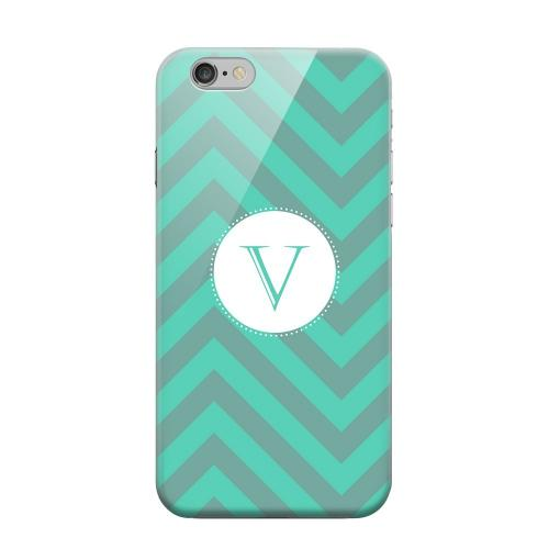 Geeks Designer Line (GDL) Apple iPhone 6 Matte Hard Back Cover - Seafoam Green Monogram V on Zig Zags