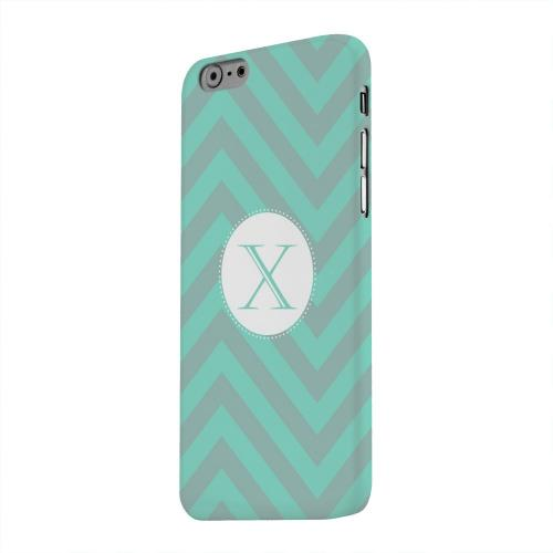 Geeks Designer Line (GDL) Apple iPhone 6 Matte Hard Back Cover - Seafoam Green Monogram X on Zig Zags