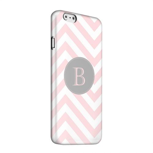 Geeks Designer Line (GDL) Apple iPhone 6 Matte Hard Back Cover - Gray Button Monogram B on Pale Pink Zig Zags