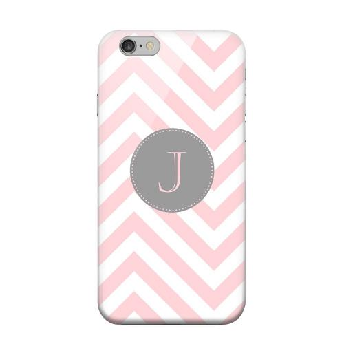 Geeks Designer Line (GDL) Apple iPhone 6 Matte Hard Back Cover - Gray Button Monogram J on Pale Pink Zig Zags
