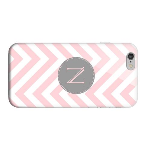 Geeks Designer Line (GDL) Apple iPhone 6 Matte Hard Back Cover - Gray Button Monogram N on Pale Pink Zig Zags