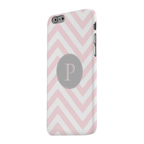 Geeks Designer Line (GDL) Apple iPhone 6 Matte Hard Back Cover - Gray Button Monogram P on Pale Pink Zig Zags
