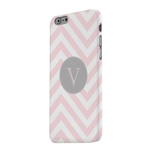 Geeks Designer Line (GDL) Apple iPhone 6 Matte Hard Back Cover - Gray Button Monogram V on Pale Pink Zig Zags