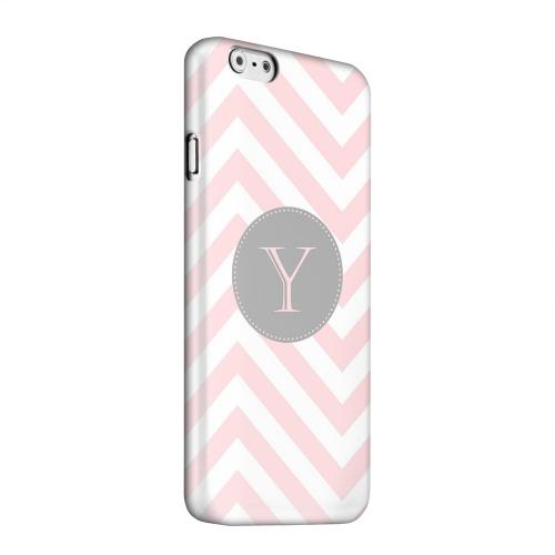 Geeks Designer Line (GDL) Apple iPhone 6 Matte Hard Back Cover - Gray Button Monogram Y on Pale Pink Zig Zags