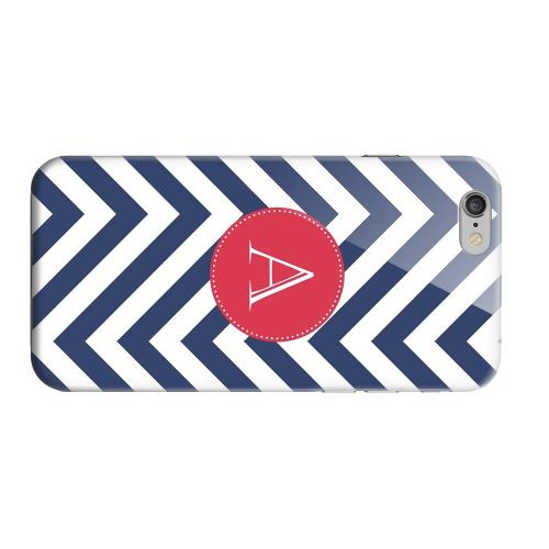 Geeks Designer Line (GDL) Apple iPhone 6 Matte Hard Back Cover - Cherry Button Monogram A on Navy Blue Zig Zags