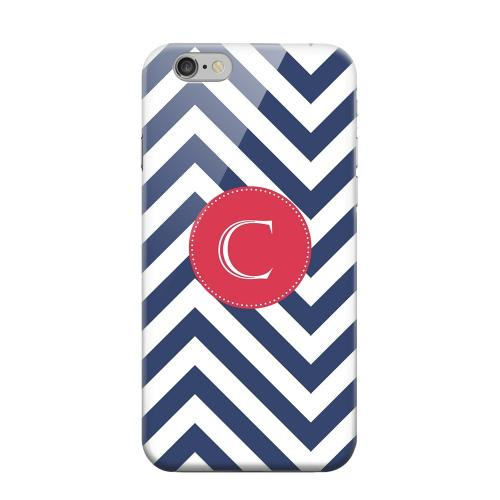Geeks Designer Line (GDL) Apple iPhone 6 Matte Hard Back Cover - Cherry Button Monogram C on Navy Blue Zig Zags