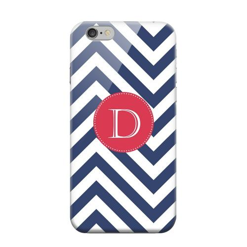 Geeks Designer Line (GDL) Apple iPhone 6 Matte Hard Back Cover - Cherry Button Monogram D on Navy Blue Zig Zags