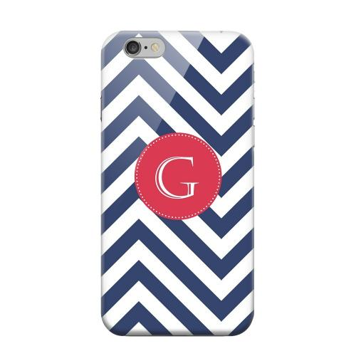 Geeks Designer Line (GDL) Apple iPhone 6 Matte Hard Back Cover - Cherry Button Monogram G on Navy Blue Zig Zags