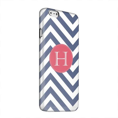 Geeks Designer Line (GDL) Apple iPhone 6 Matte Hard Back Cover - Cherry Button Monogram H on Navy Blue Zig Zags