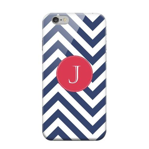 Geeks Designer Line (GDL) Apple iPhone 6 Matte Hard Back Cover - Cherry Button Monogram J on Navy Blue Zig Zags