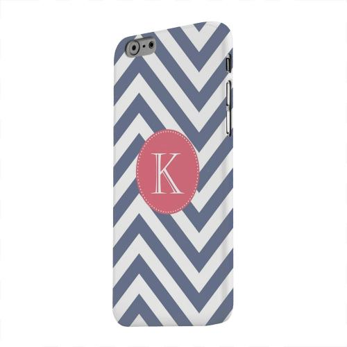 Geeks Designer Line (GDL) Apple iPhone 6 Matte Hard Back Cover - Cherry Button Monogram K on Navy Blue Zig Zags