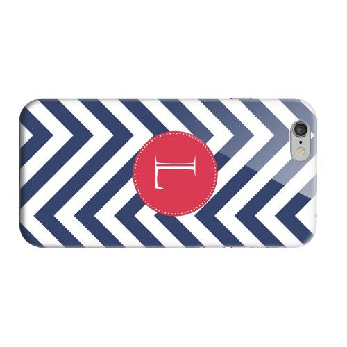 Geeks Designer Line (GDL) Apple iPhone 6 Matte Hard Back Cover - Cherry Button Monogram L on Navy Blue Zig Zags