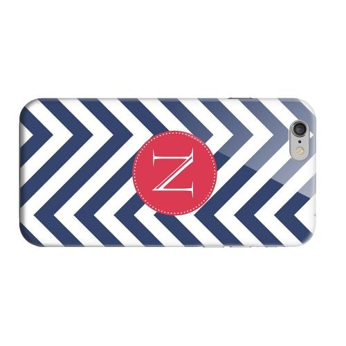 Geeks Designer Line (GDL) Apple iPhone 6 Matte Hard Back Cover - Cherry Button Monogram N on Navy Blue Zig Zags