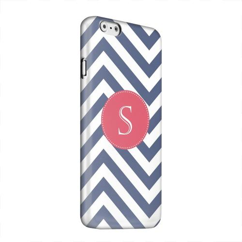 Geeks Designer Line (GDL) Apple iPhone 6 Matte Hard Back Cover - Cherry Button Monogram S on Navy Blue Zig Zags