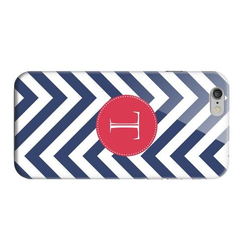 Geeks Designer Line (GDL) Apple iPhone 6 Matte Hard Back Cover - Cherry Button Monogram T on Navy Blue Zig Zags