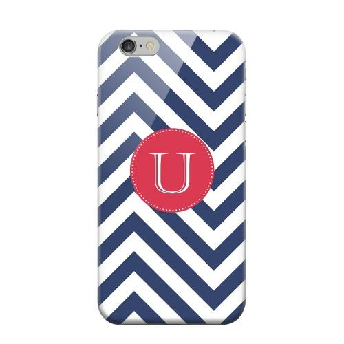 Geeks Designer Line (GDL) Apple iPhone 6 Matte Hard Back Cover - Cherry Button Monogram U on Navy Blue Zig Zags
