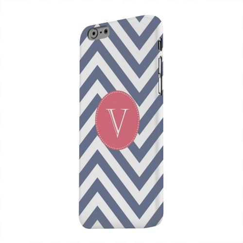 Geeks Designer Line (GDL) Apple iPhone 6 Matte Hard Back Cover - Cherry Button Monogram V on Navy Blue Zig Zags