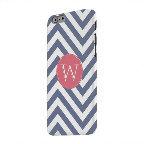 Geeks Designer Line (GDL) Apple iPhone 6 Matte Hard Back Cover - Cherry Button Monogram W on Navy Blue Zig Zags