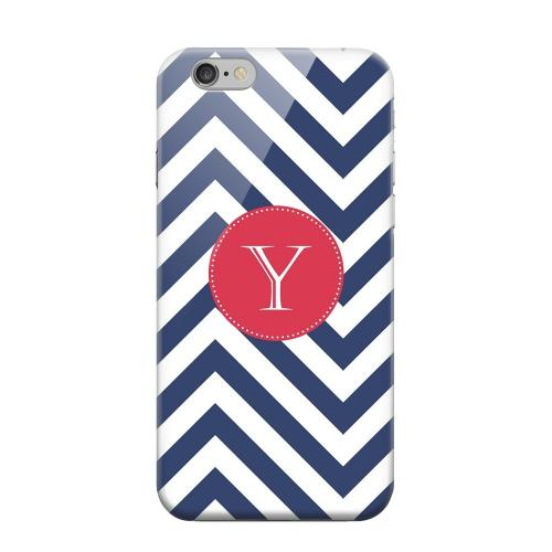 Geeks Designer Line (GDL) Apple iPhone 6 Matte Hard Back Cover - Cherry Button Monogram Y on Navy Blue Zig Zags