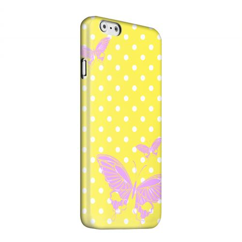 Geeks Designer Line (GDL) Apple iPhone 6 Matte Hard Back Cover - Pink Butterfly on White Polka Dots