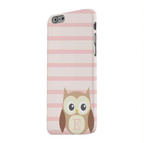 Geeks Designer Line (GDL) Apple iPhone 6 Matte Hard Back Cover - Brown Owl Monogram E on Pink Stripes