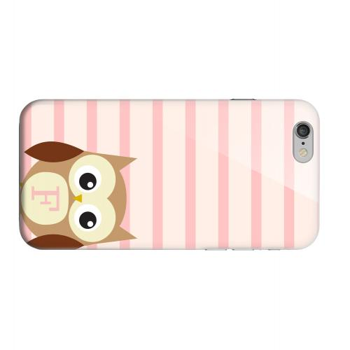 Geeks Designer Line (GDL) Apple iPhone 6 Matte Hard Back Cover - Brown Owl Monogram F on Pink Stripes