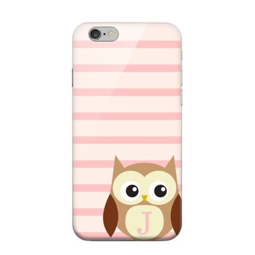 Geeks Designer Line (GDL) Apple iPhone 6 Matte Hard Back Cover - Brown Owl Monogram J on Pink Stripes