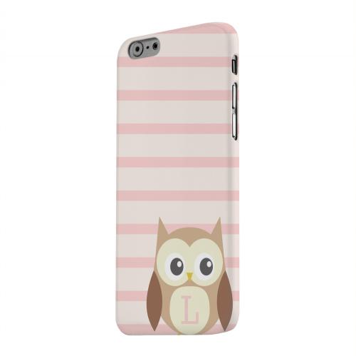 Geeks Designer Line (GDL) Apple iPhone 6 Matte Hard Back Cover - Brown Owl Monogram L on Pink Stripes