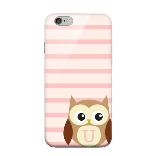 Geeks Designer Line (GDL) Apple iPhone 6 Matte Hard Back Cover - Brown Owl Monogram U on Pink Stripes