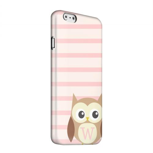 Geeks Designer Line (GDL) Apple iPhone 6 Matte Hard Back Cover - Brown Owl Monogram W on Pink Stripes