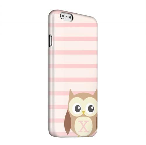 Geeks Designer Line (GDL) Apple iPhone 6 Matte Hard Back Cover - Brown Owl Monogram X on Pink Stripes