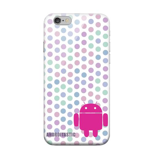 Geeks Designer Line (GDL) Apple iPhone 6 Matte Hard Back Cover - Pink Robot on Pastel Polka Dots