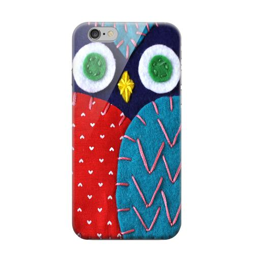 Geeks Designer Line (GDL) Apple iPhone 6 Matte Hard Back Cover - Dark Blue/ Red Owl