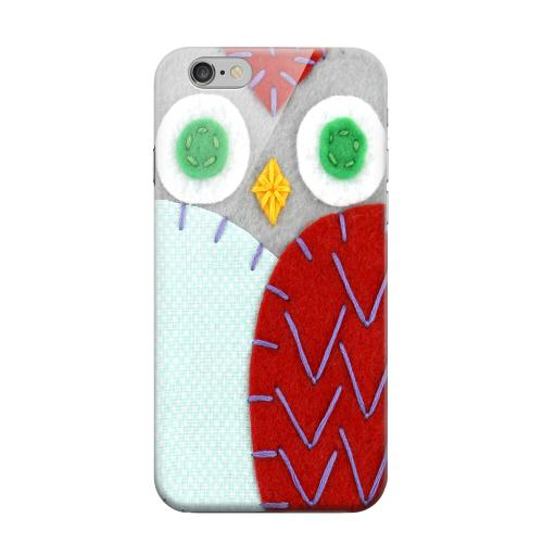Geeks Designer Line (GDL) Apple iPhone 6 Matte Hard Back Cover - Gray/ Red Owl