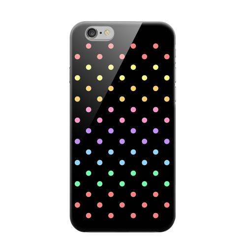Geeks Designer Line (GDL) Apple iPhone 6 Matte Hard Back Cover - Rainbow Dots on Black
