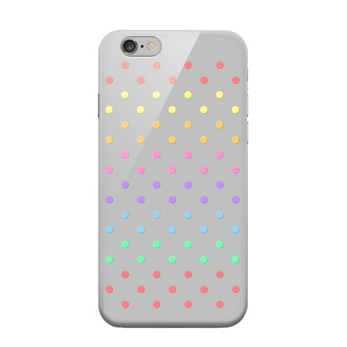 Geeks Designer Line (GDL) Apple iPhone 6 Matte Hard Back Cover - Rainbow Dots on Gray
