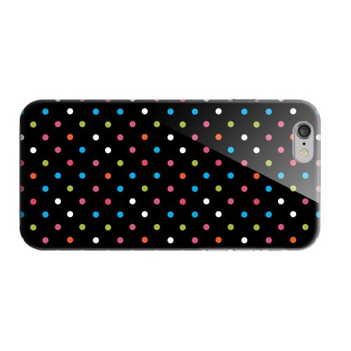 Geeks Designer Line (GDL) Apple iPhone 6 Matte Hard Back Cover - Retro Rainbow Dots on Black