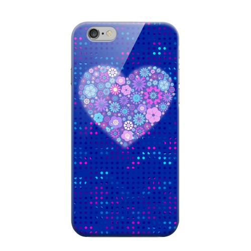 Geeks Designer Line (GDL) Apple iPhone 6 Matte Hard Back Cover - Shimmer Blue Dots & Heart